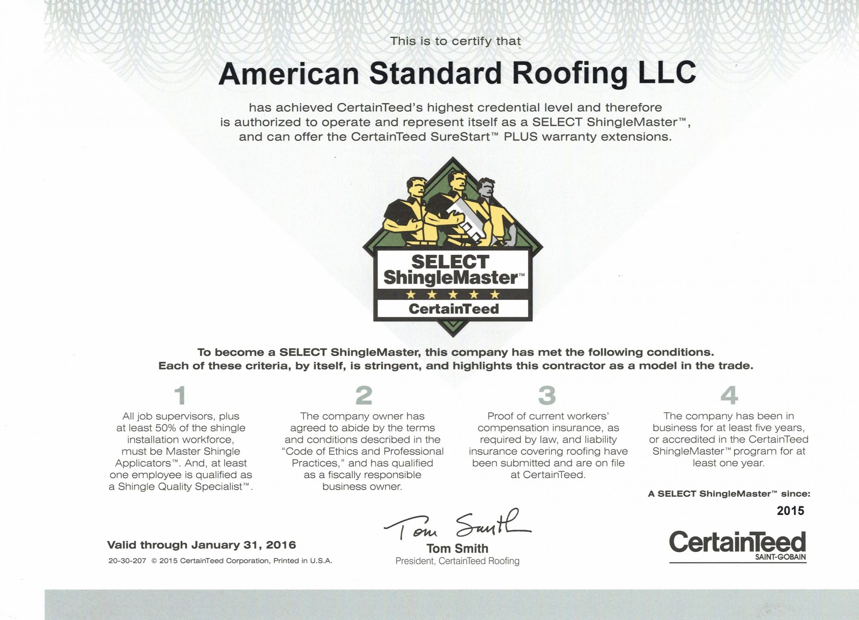 Certainteed certifications american standard roofing shingle master michigan roofing xflitez Images