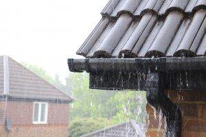 gutters on home in rain